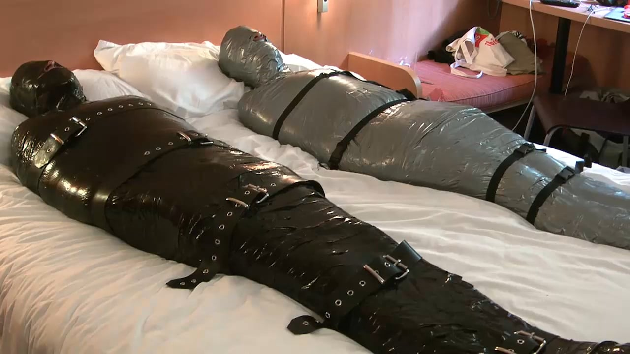 Wrapped in bags and pantyhose 4